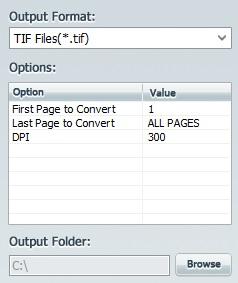 Select Tiff Image as output format